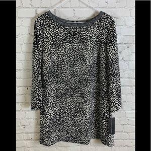 Adrienne Vittadini Black & Gray Blouse Sz Large
